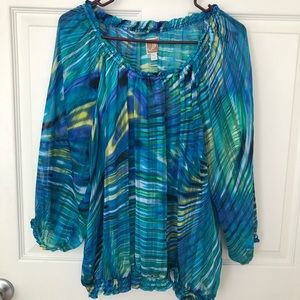 JM Collection Semi Sheer Pull Over Blouse